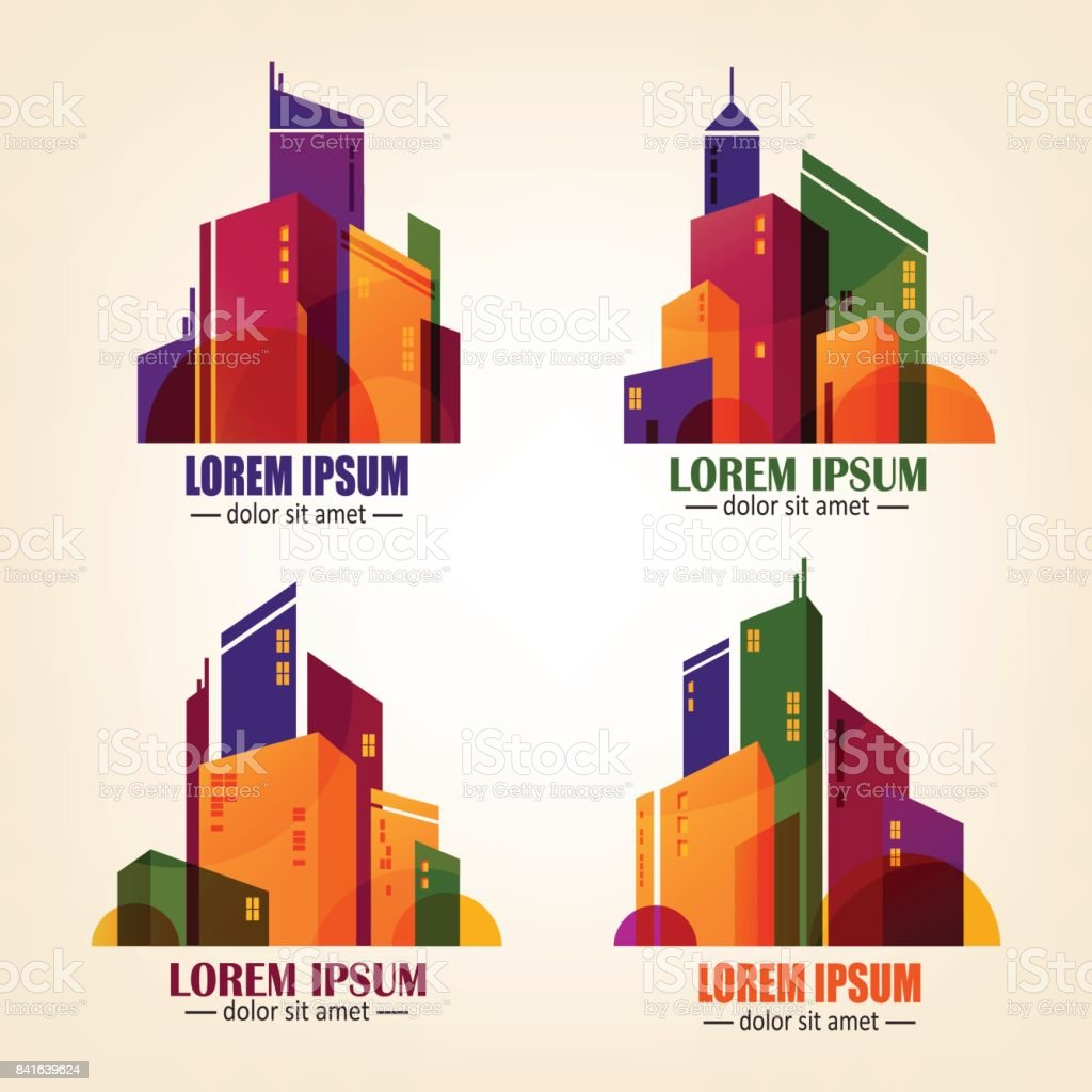 Set of city symbols in flat design vector colourful buildings built structure internet residential building symbol text biocorpaavc