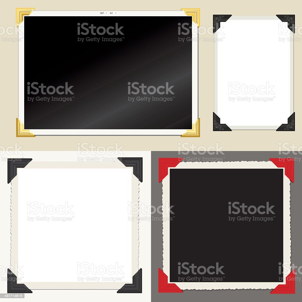 Set of classic empty photo frames vector art illustration
