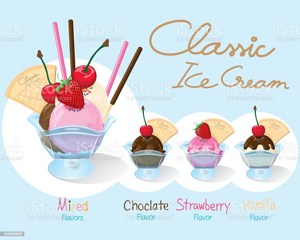 Set of Classic Ice Cream. vector art illustration