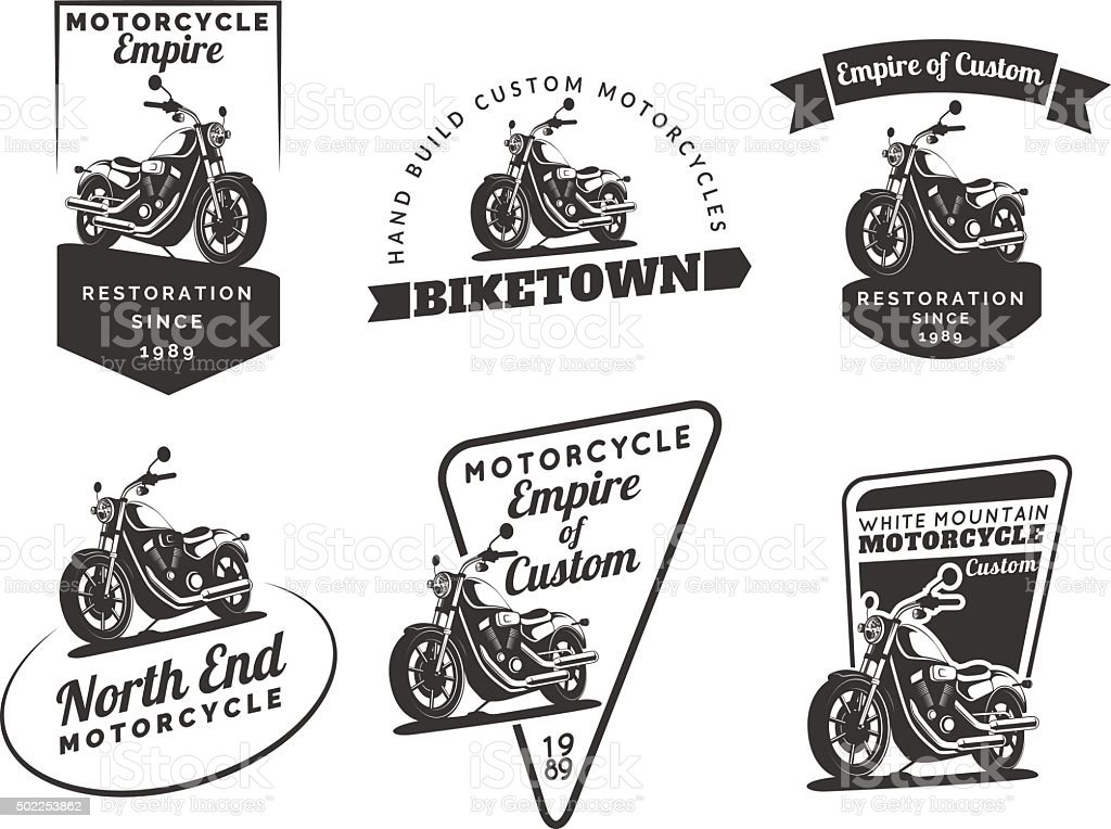 Set of classic motorcycle emblems, badges and icons. vector art illustration