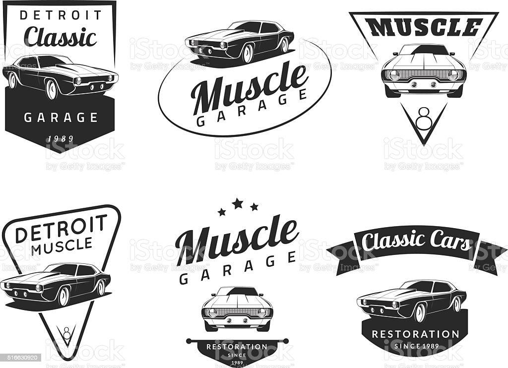 Set of classic muscle car emblems vector art illustration