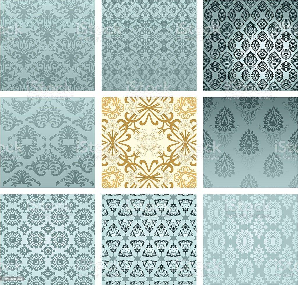 Set of classic patterns seamless wallpaper vector art illustration