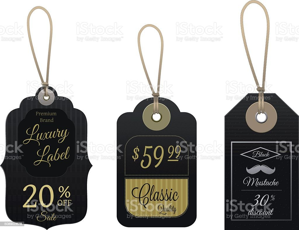 Set of Classic Vector Price Tags vector art illustration