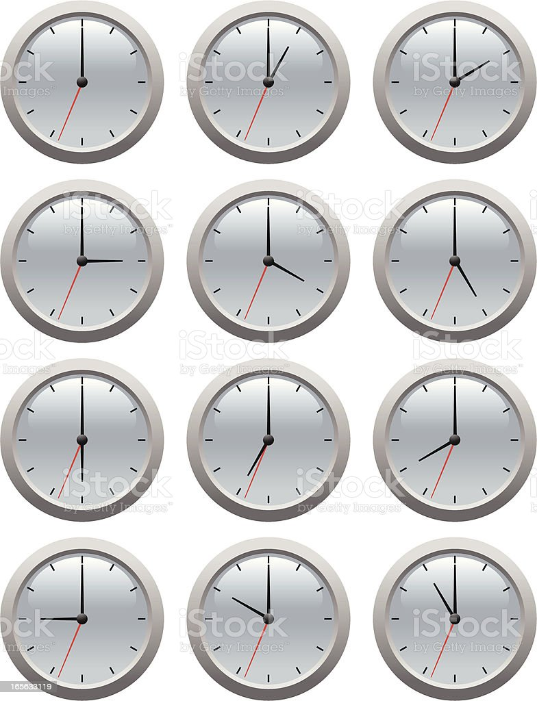 A set of clocks showing hours twelve to eleven royalty-free stock vector art