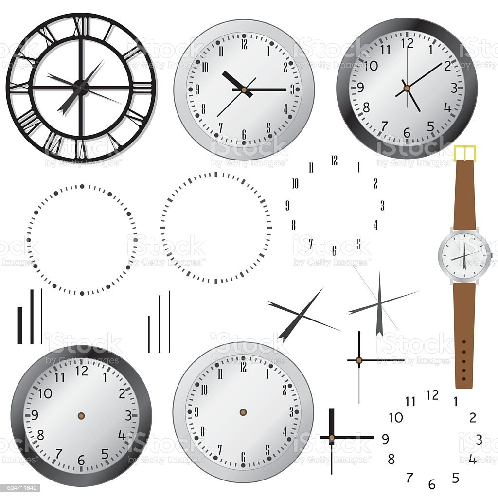 Set of clocks. vector art illustration