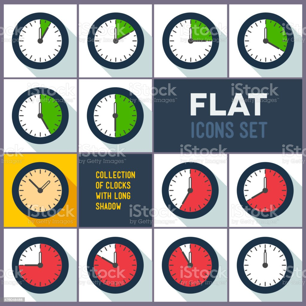 Set of clocks with 10 minutes interval vector art illustration