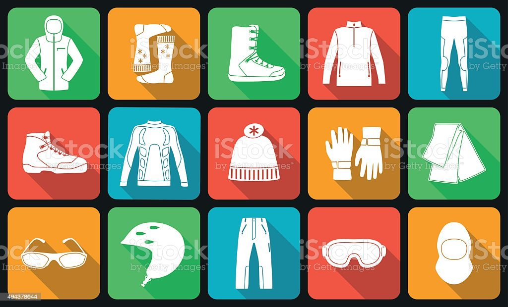 Set of cloth and shoes for winter sport. vector art illustration