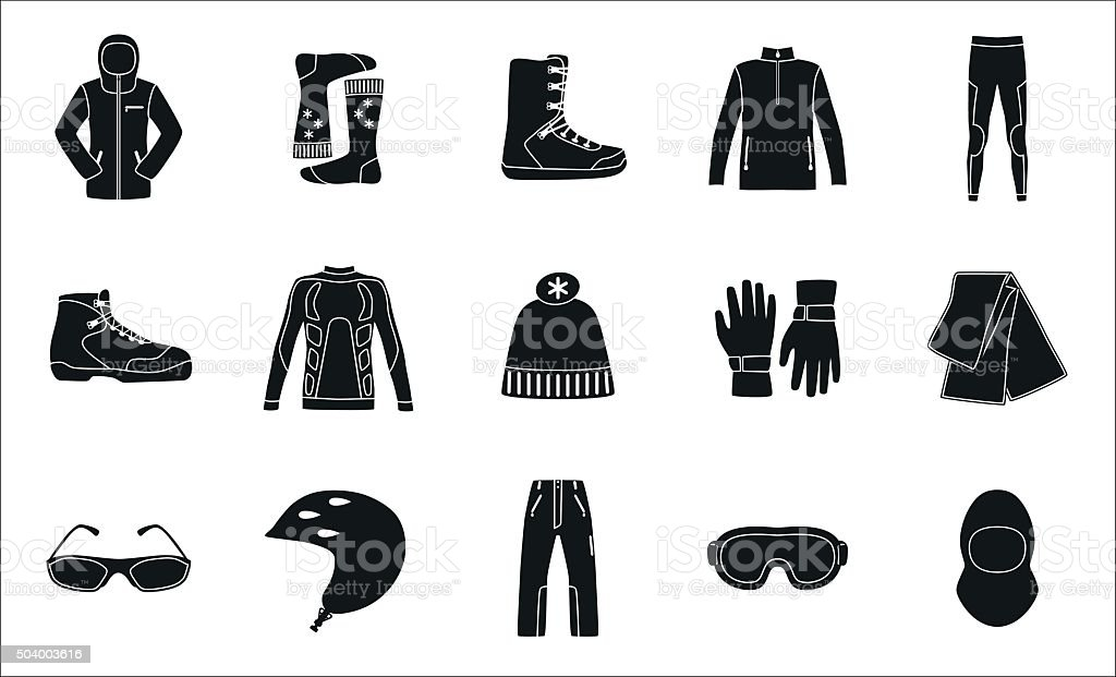 Set of cloth and shoes for winter sport vector art illustration