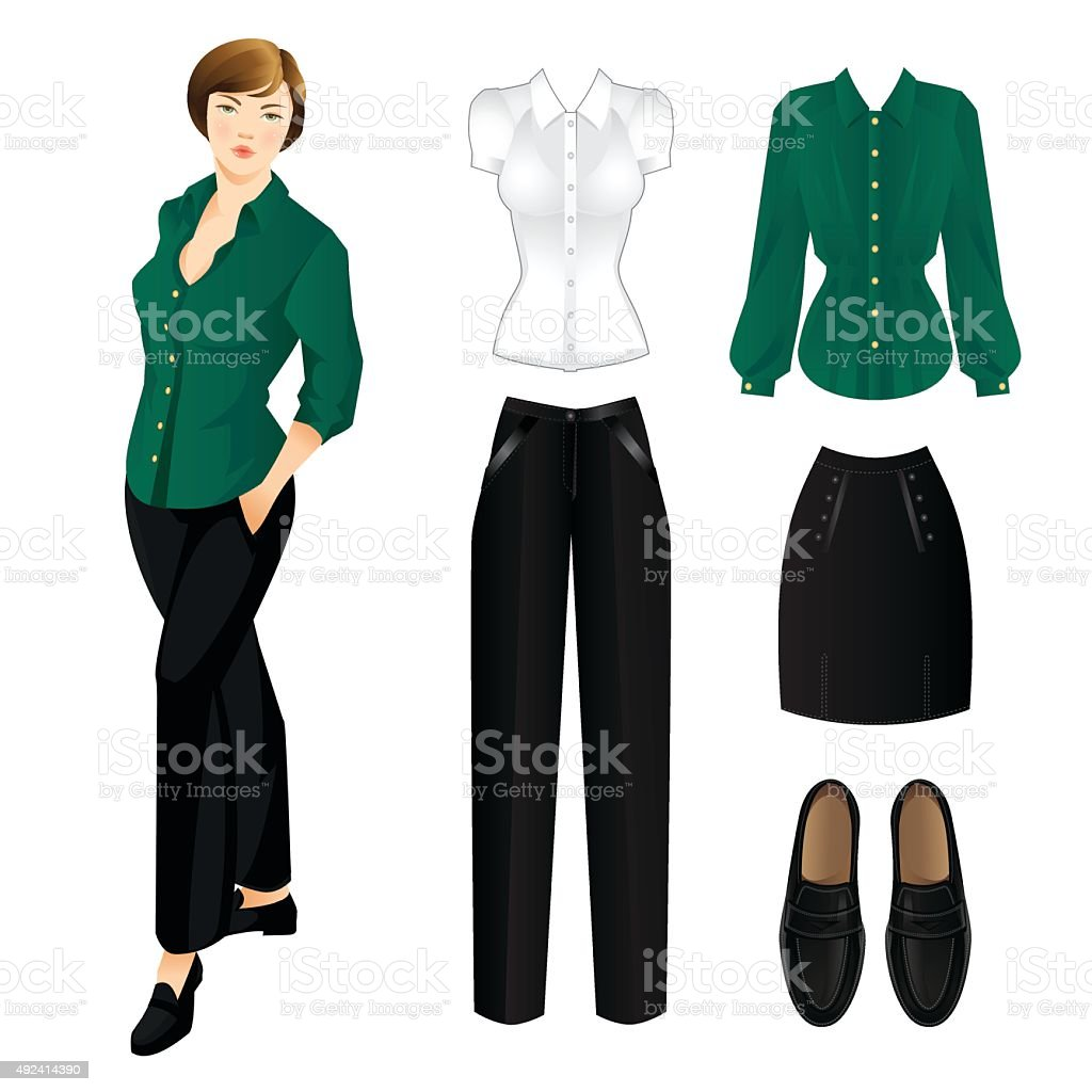 Set of clothes for everyday. Woman in green blouse vector art illustration