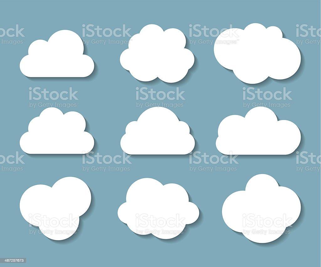 Set of Cloud Shaped Frames Vector Illustration vector art illustration