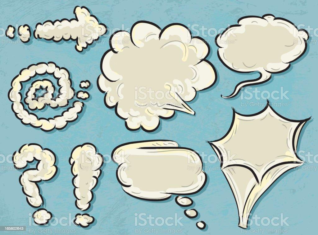 Set of cloud symbols and speech bubbles vector art illustration