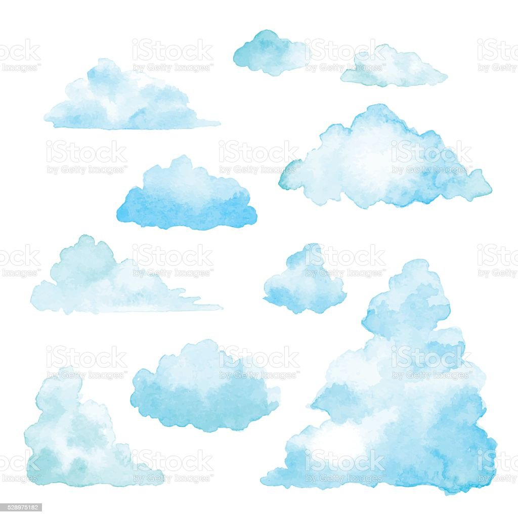 Set Of Clouds Watercolor vector art illustration