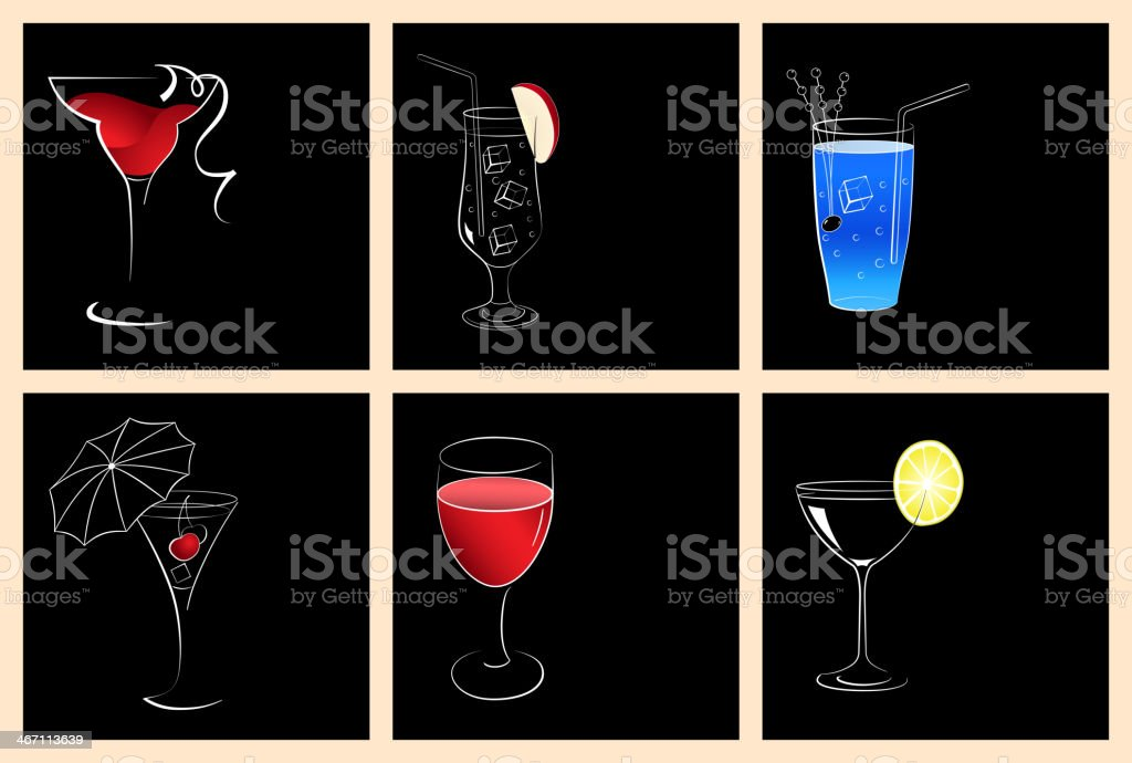 Set of cocktail and wine glasses royalty-free stock vector art
