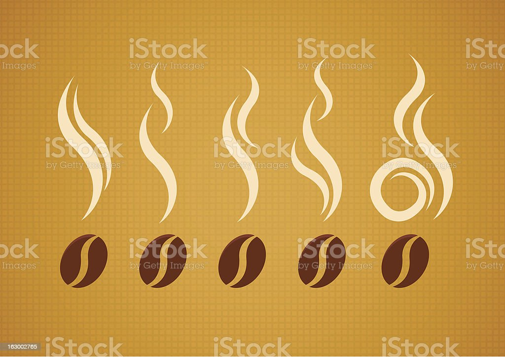 Set of coffee beans with steam vector art illustration