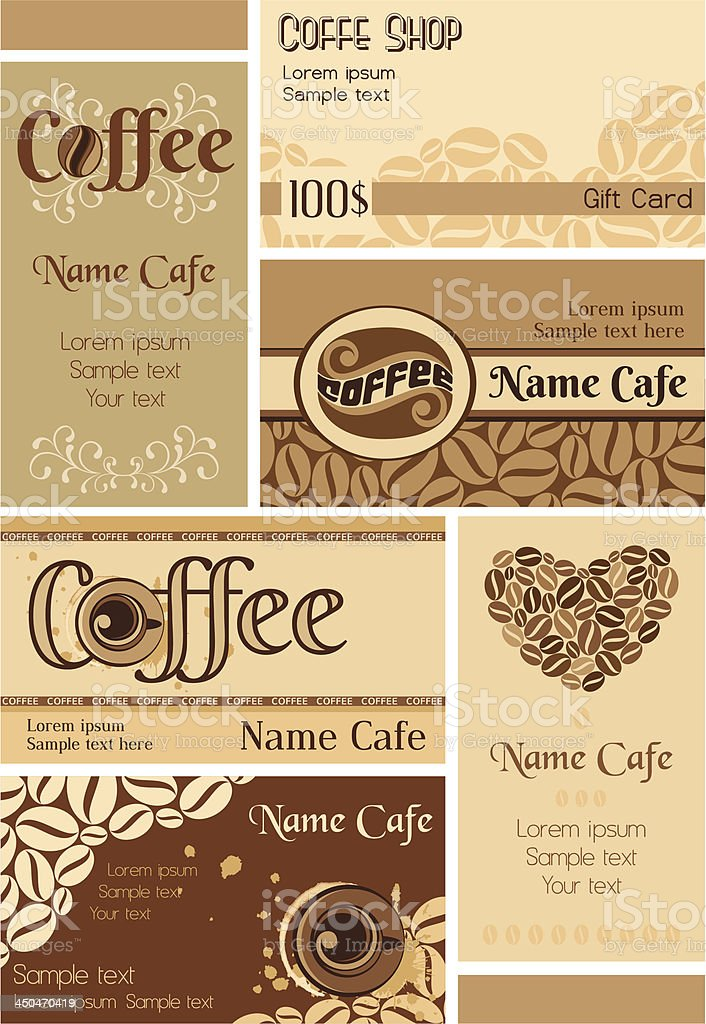 Set of coffee bussines cards royalty-free stock vector art