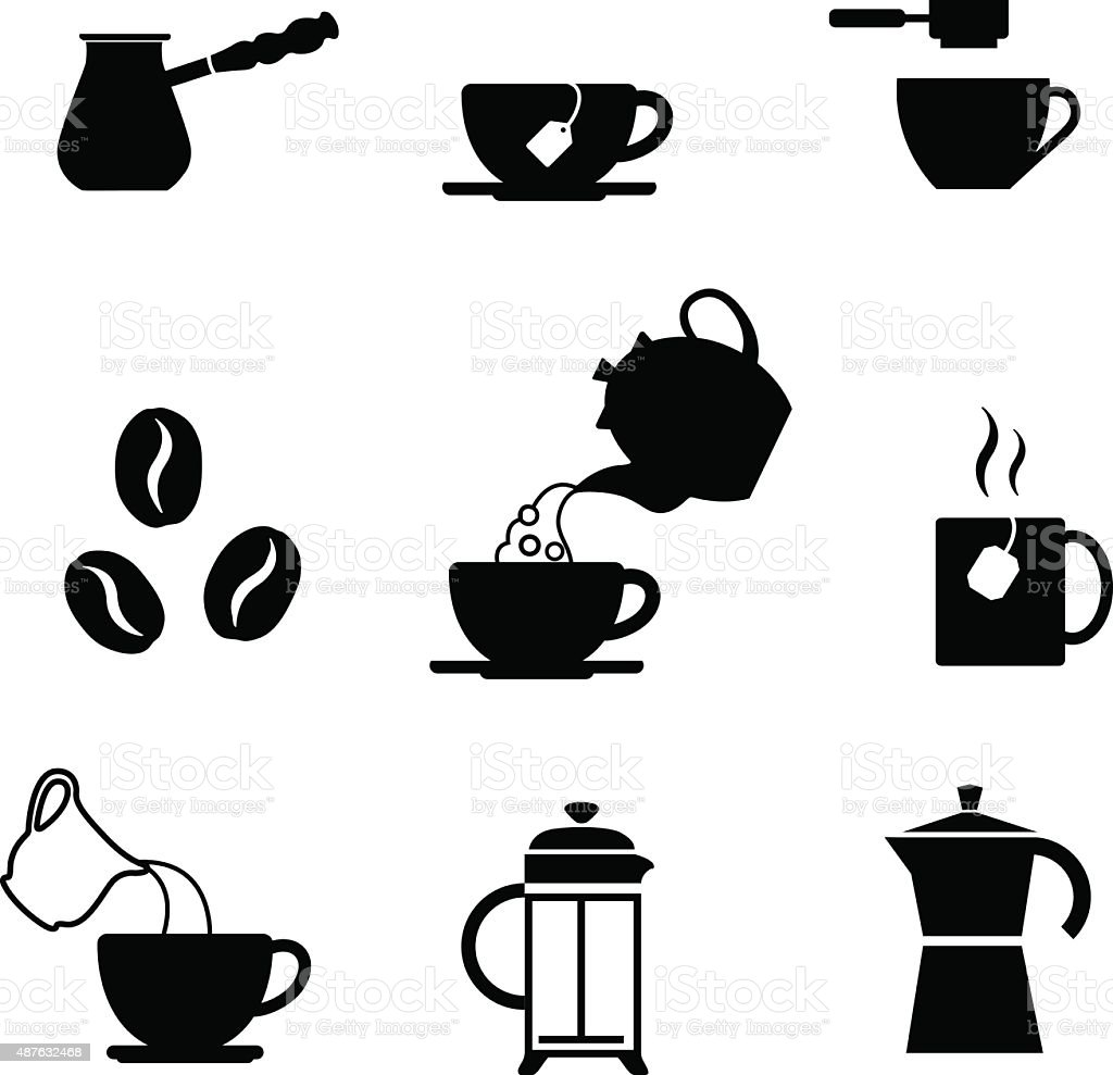 Set of coffee cup and tea cup vector art illustration