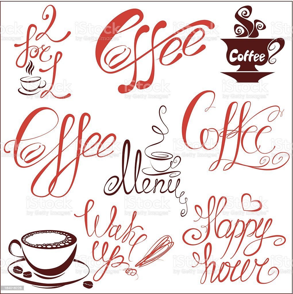 Set of coffee cups icons and hand drawn calligraphic text vector art illustration