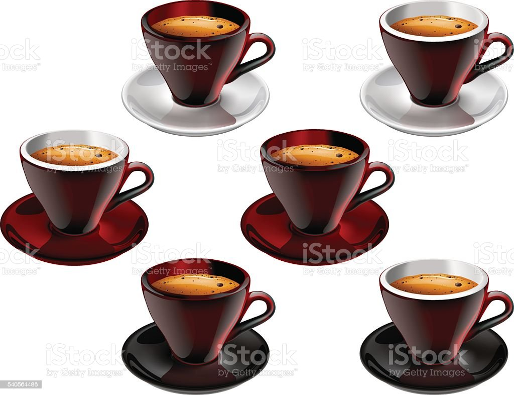 Set of coffee cups on a saucer with black coffee vector art illustration