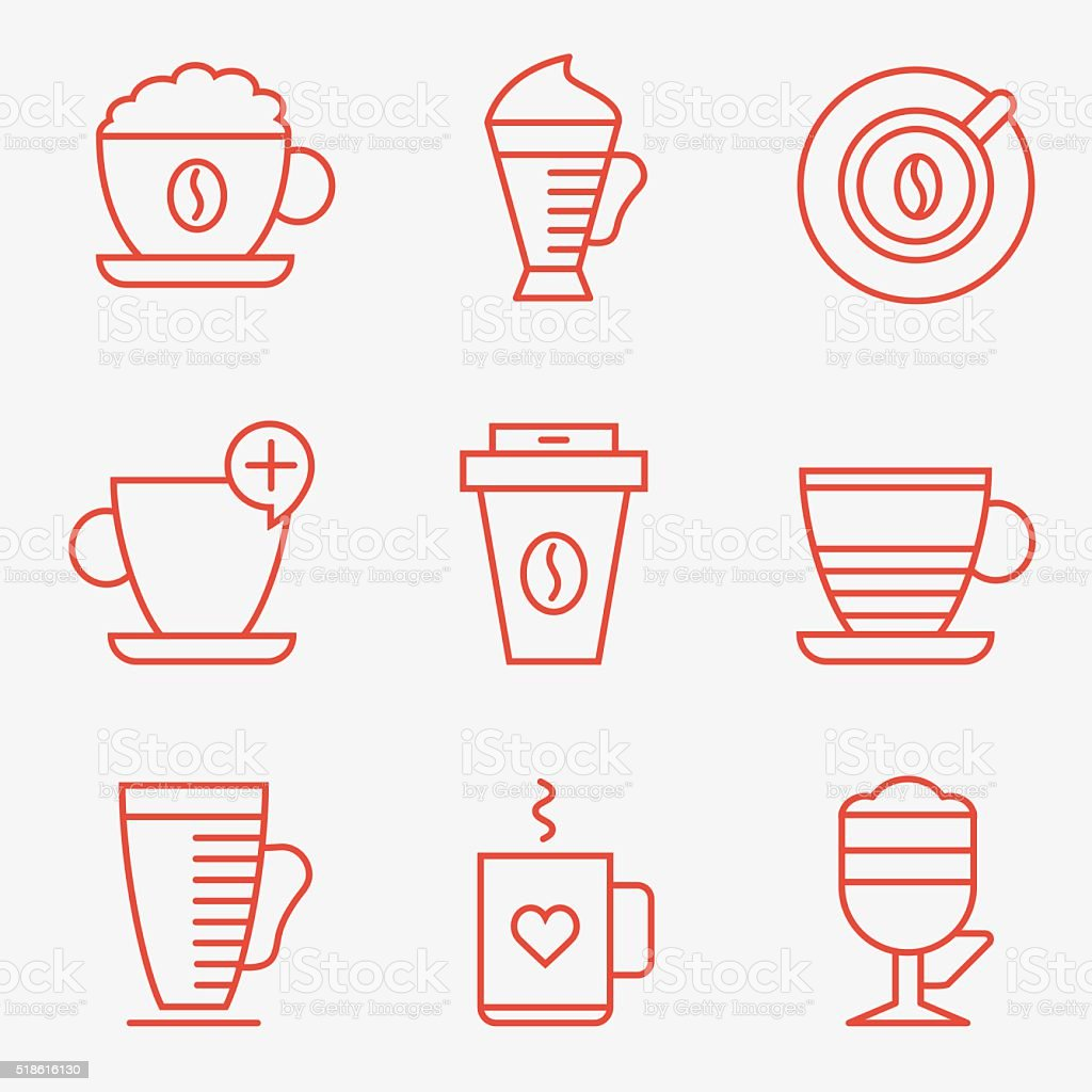 Set of coffee cups vector art illustration
