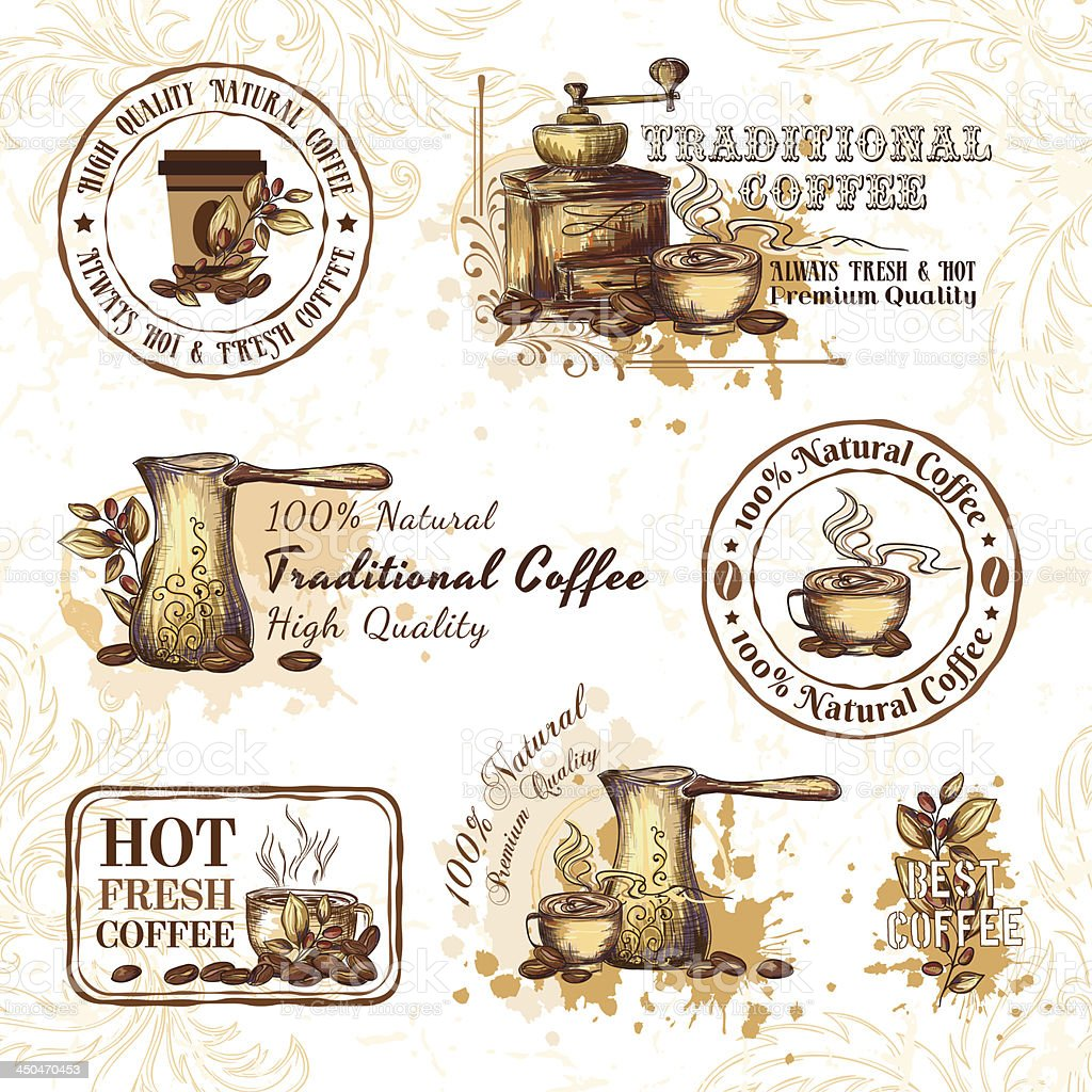 Set of coffee design elements royalty-free stock vector art