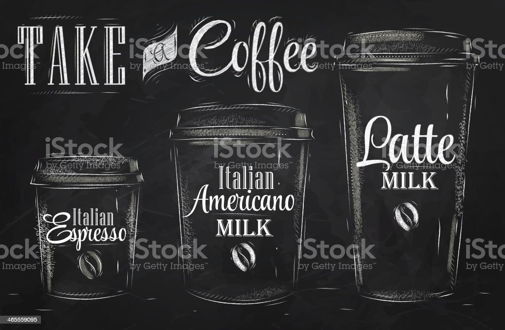 Set of Coffee drinking cup sizes chalk vector art illustration