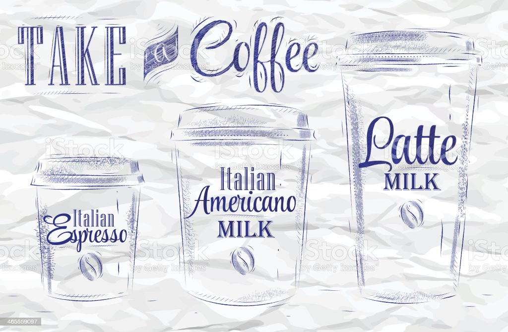 Set of Coffee drinking cup sizes ink royalty-free stock vector art