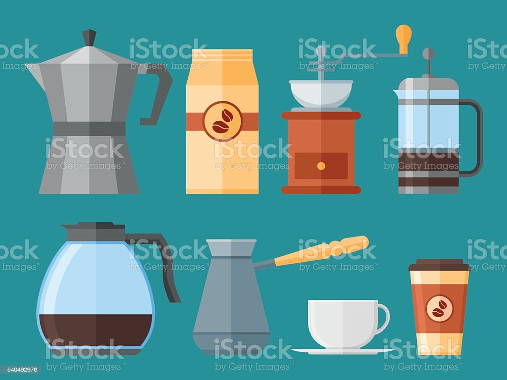 Set of coffee elements in flat style. Vector illustration. vector art illustration