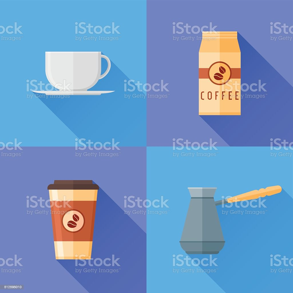 Set of coffee flat style icons. Coffee cup, pot, packaging. vector art illustration