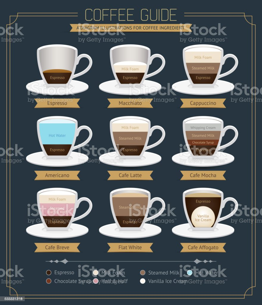 Set of Coffee  Guide Diagram. vector art illustration