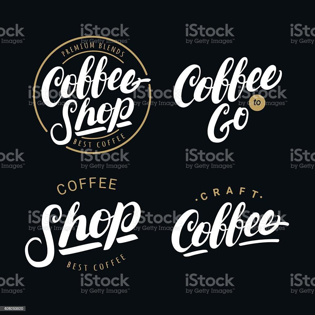Set of coffee hand written lettering logos, labels, badges. vector art illustration