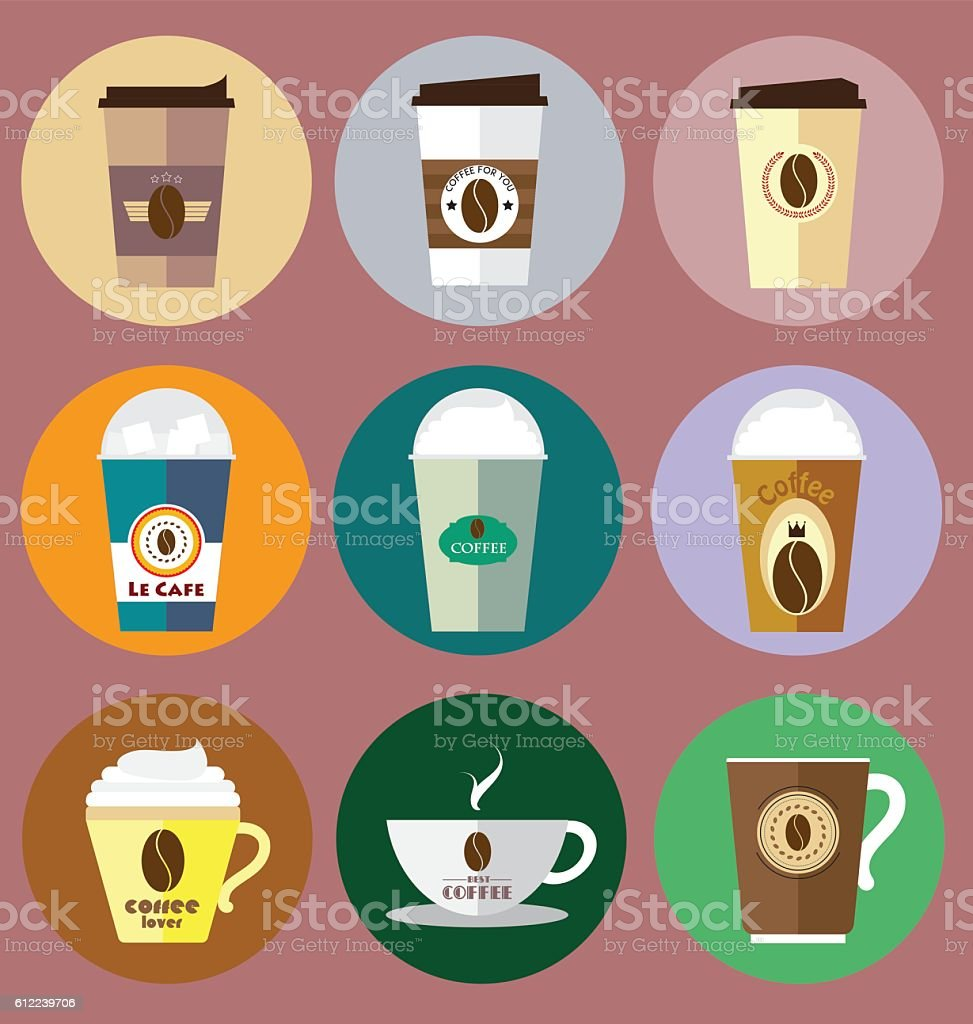 Set of Coffee Icons Vector vector art illustration
