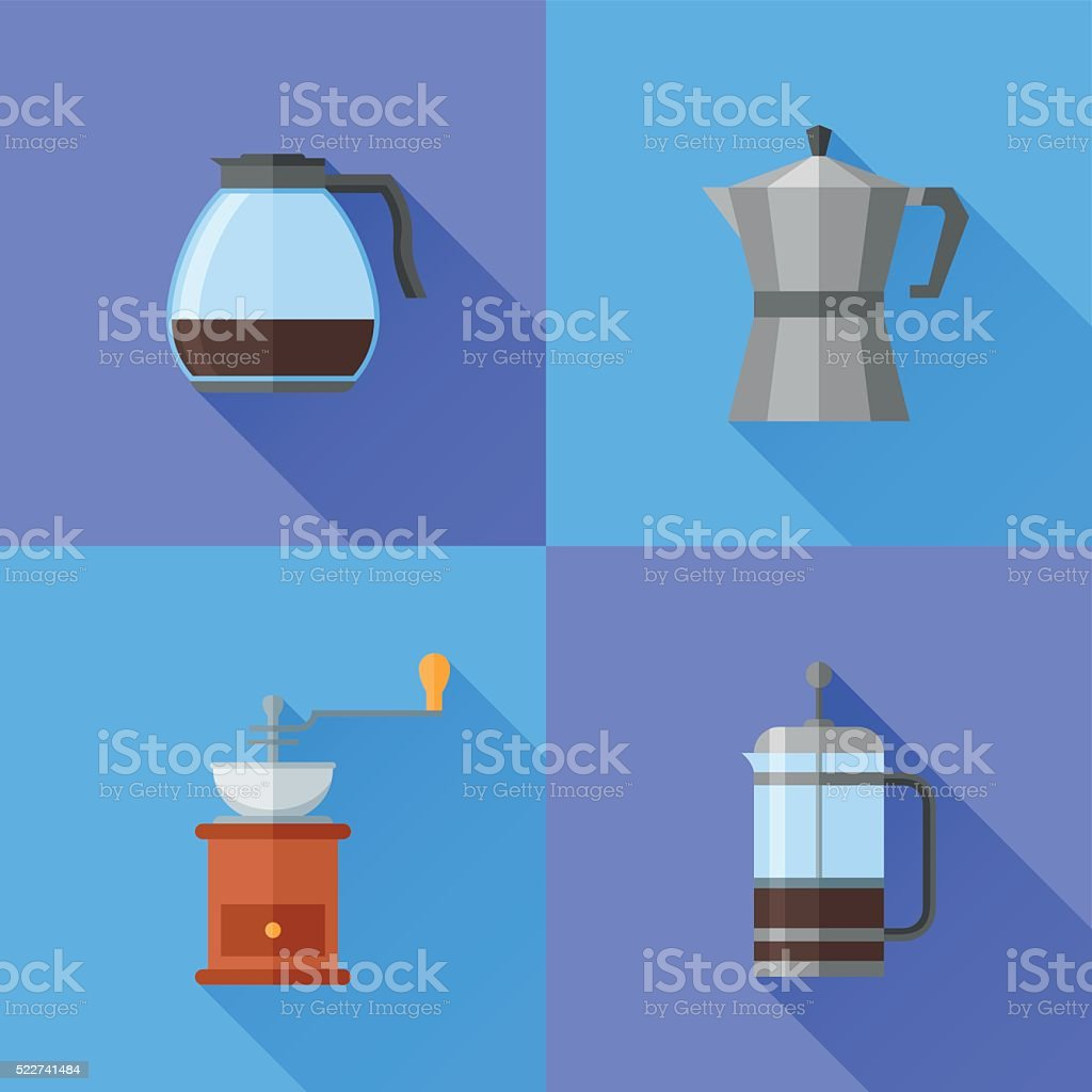 Set of coffee makers flat style icons vector art illustration
