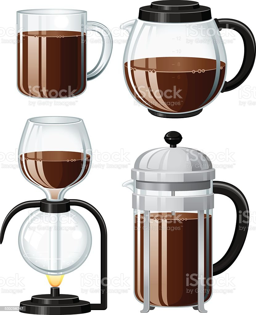Set of Coffee Related Icons vector art illustration