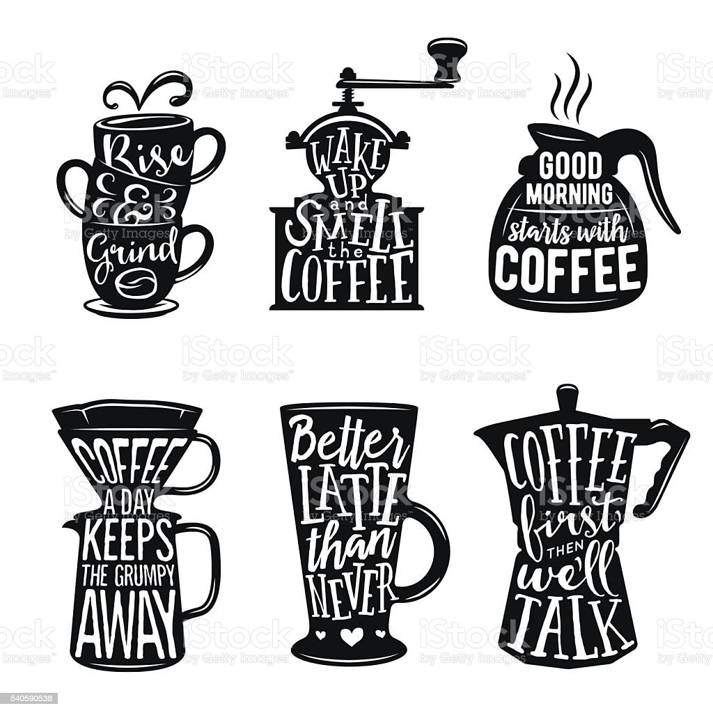 Set of coffee related typography. Vintage vector illustrations. vector art illustration