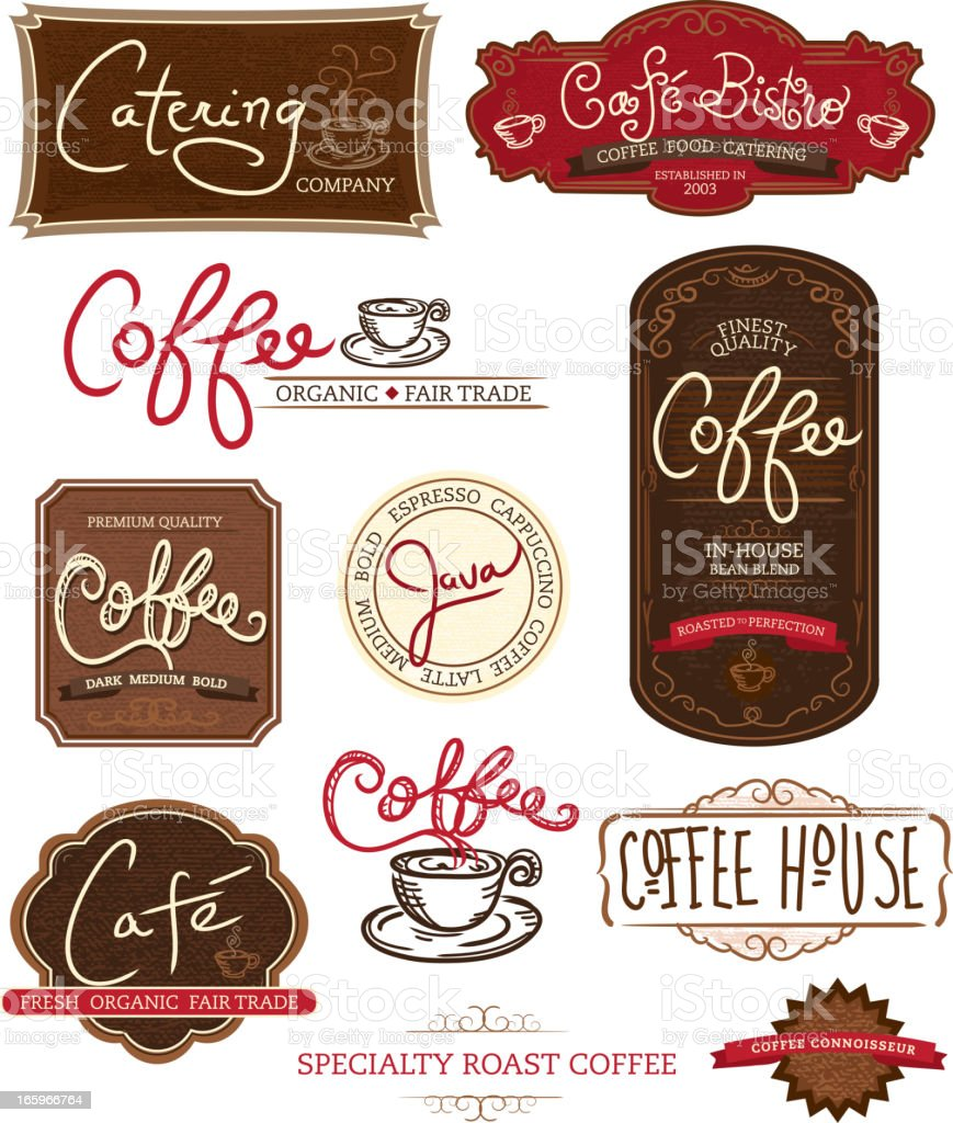 Set of coffee themed labels on white background vector art illustration