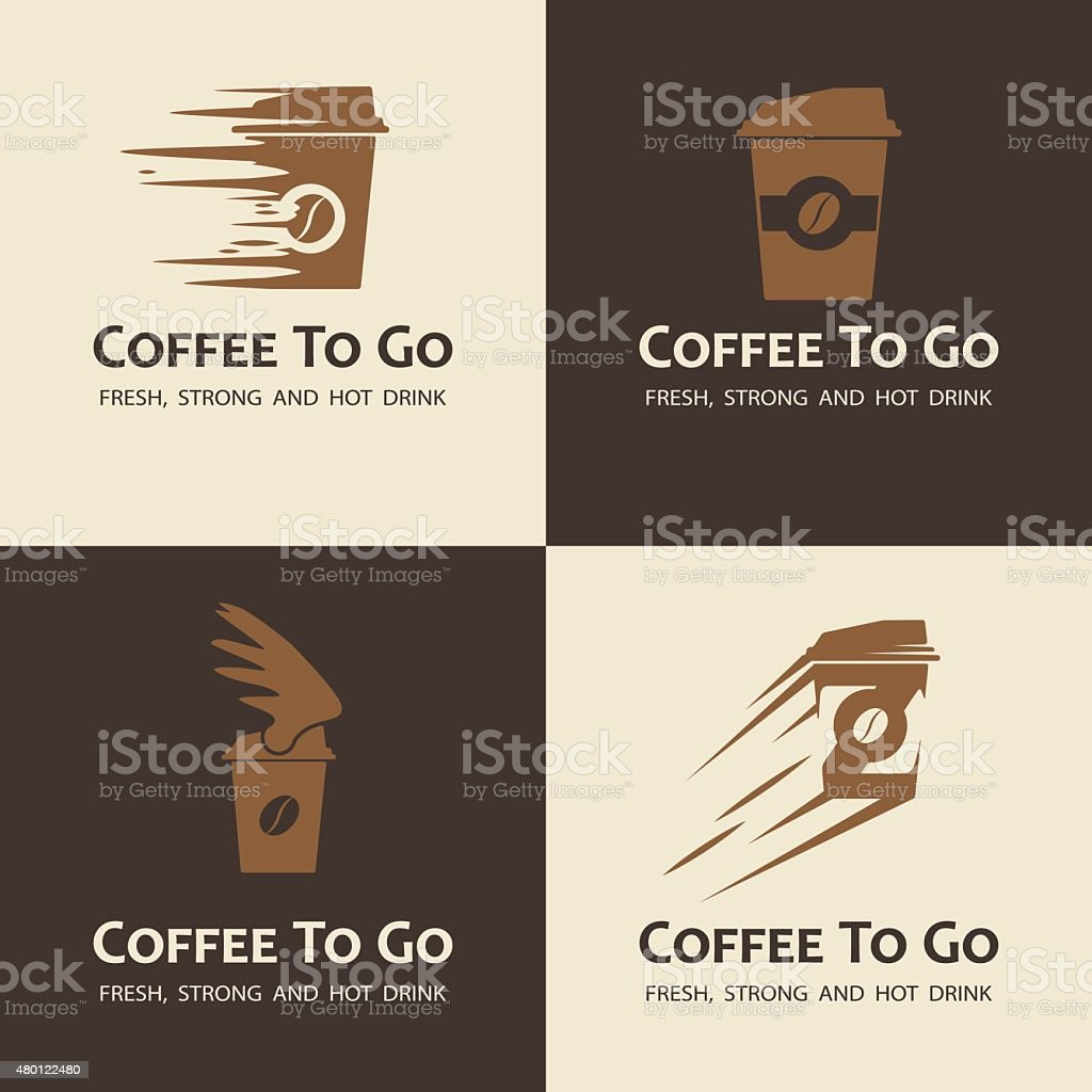 Set of coffee to go labels vector art illustration