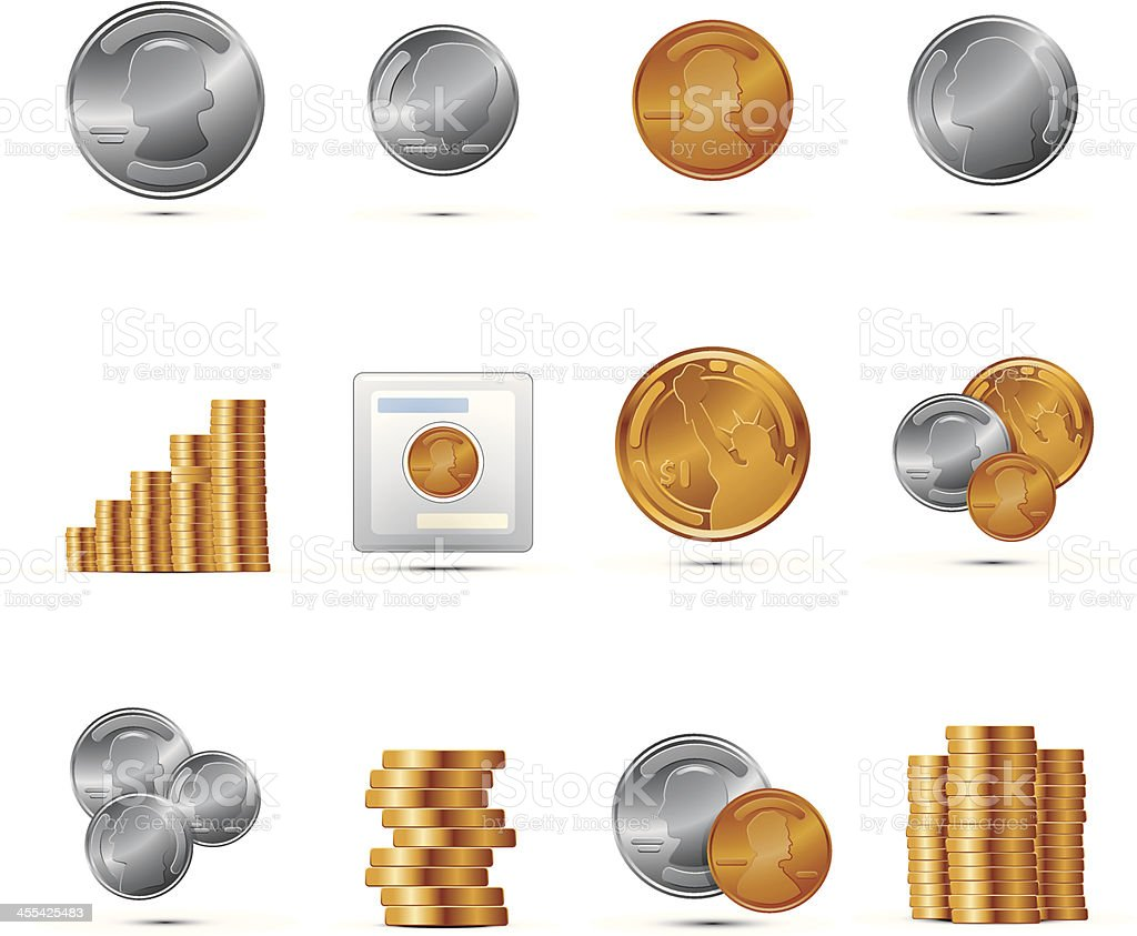 Set of coin icons with shadows vector art illustration