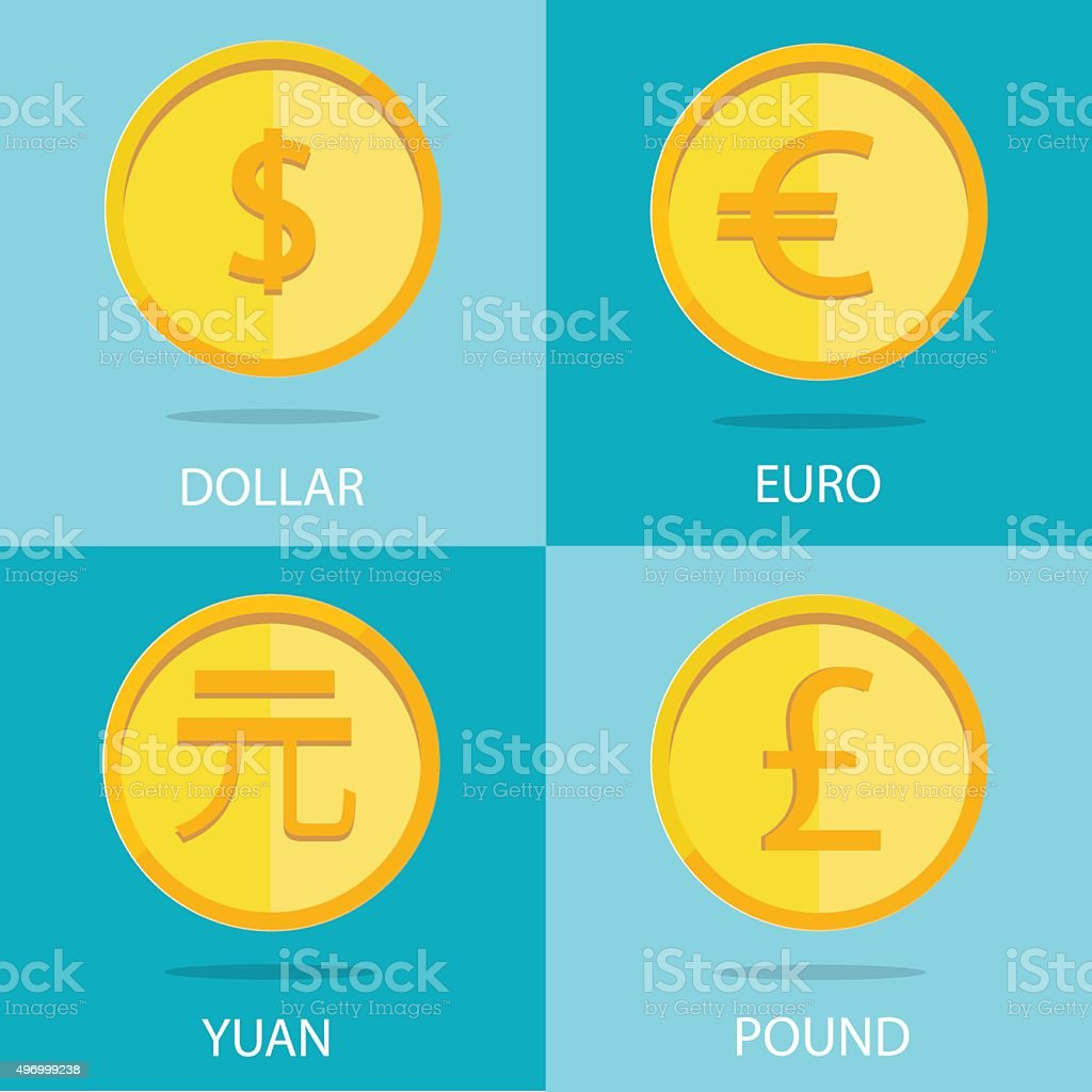 set of  coins on colorful background, euro, dollar, yuan, pound vector art illustration