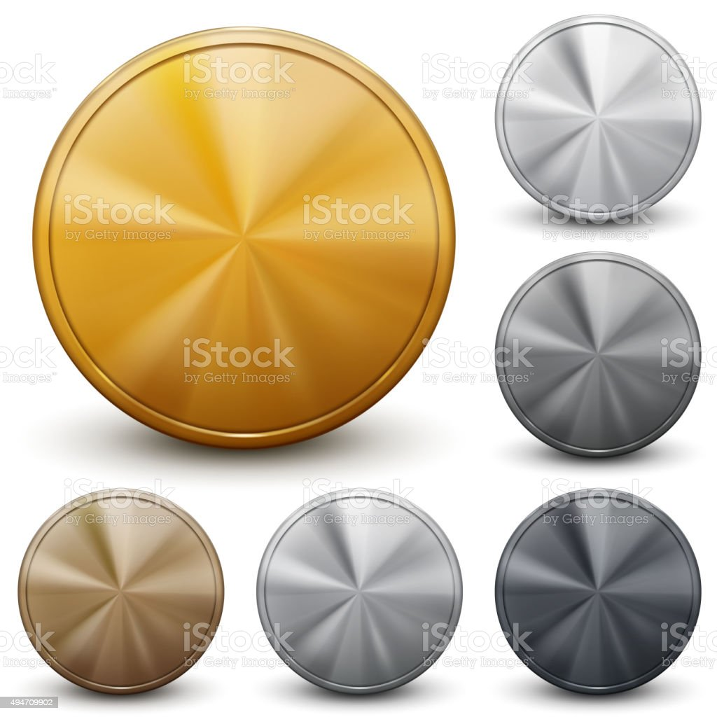 Set of coins without inscriptions vector art illustration
