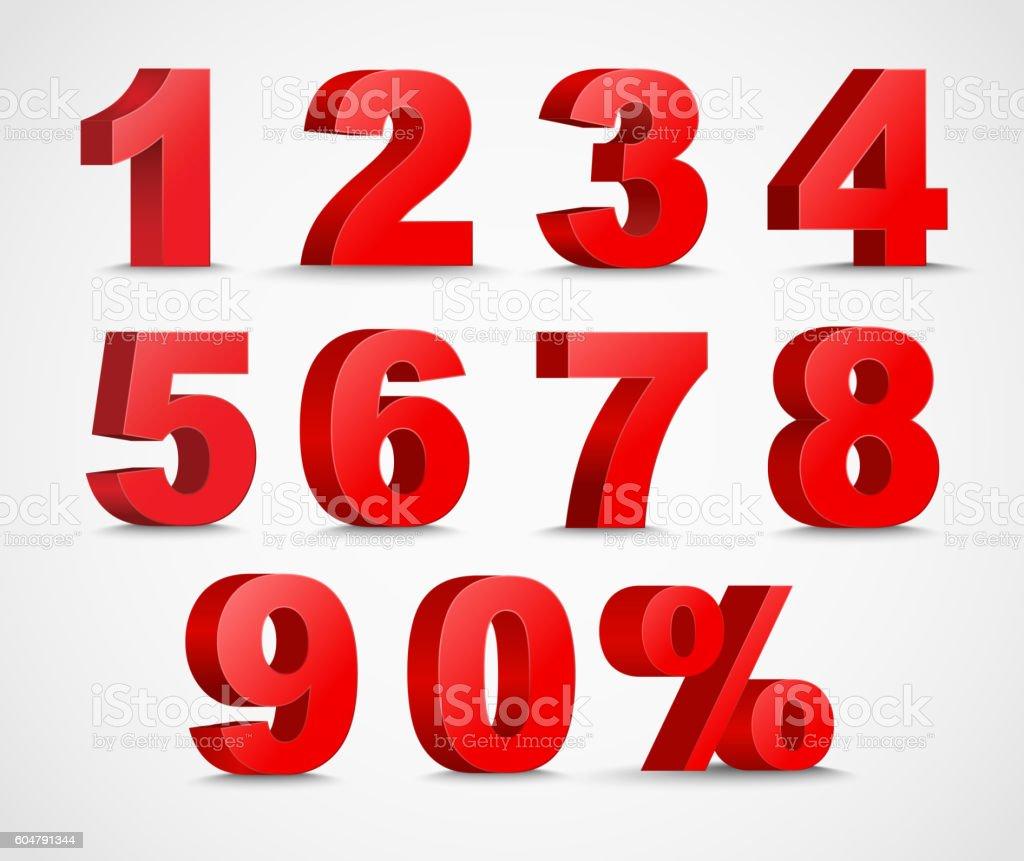 Set of color 3D figures and percent vector art illustration
