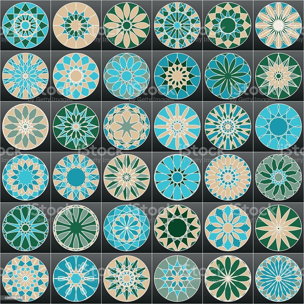 Set of color Arabic ornamental symbols. Vector decorative elements. vector art illustration