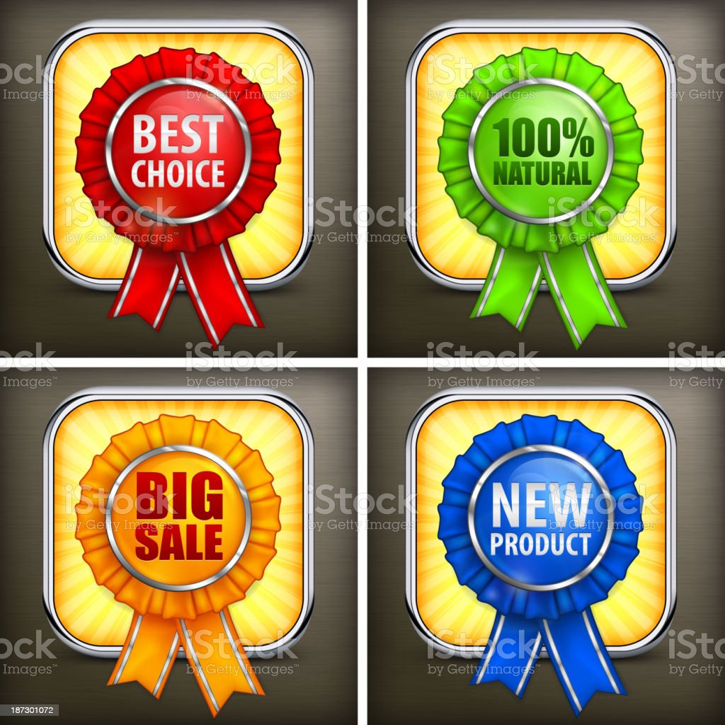 Set of color award labels on black royalty-free stock vector art