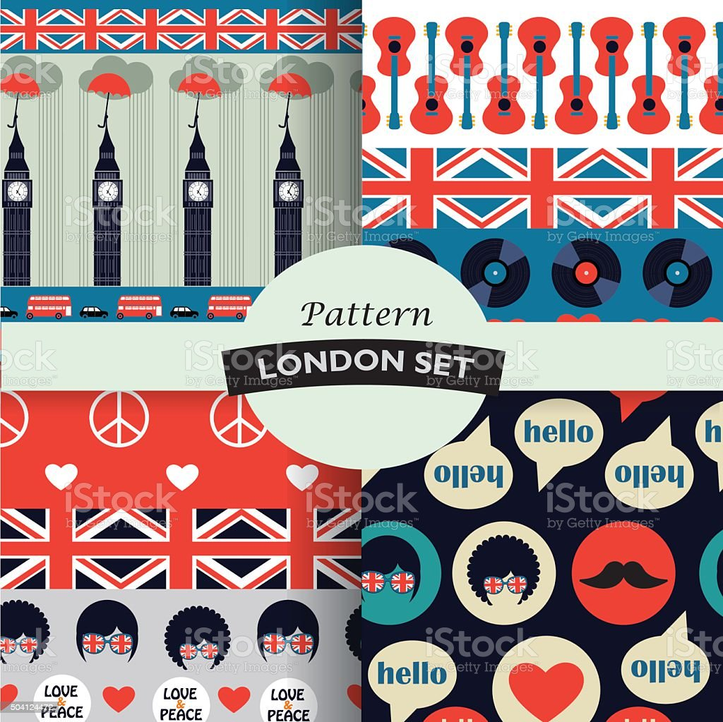 set of color british hipster patterns vector art illustration