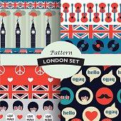 set of color british hipster patterns