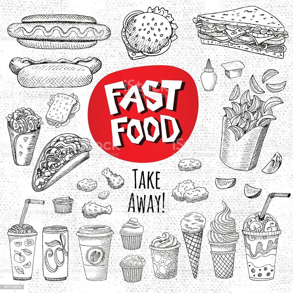 Set of color chalk drawn on a blackboard food vector art illustration