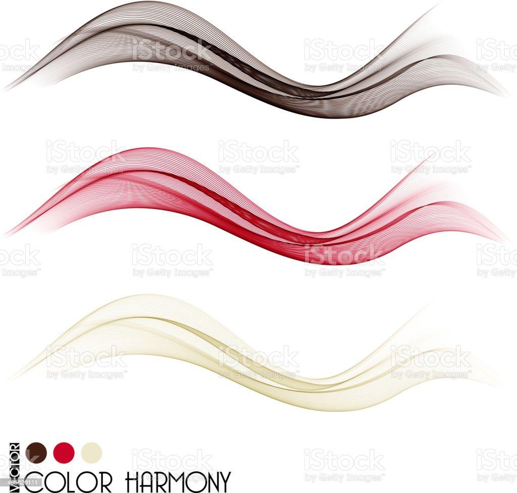 Set of color curve lines vector art illustration