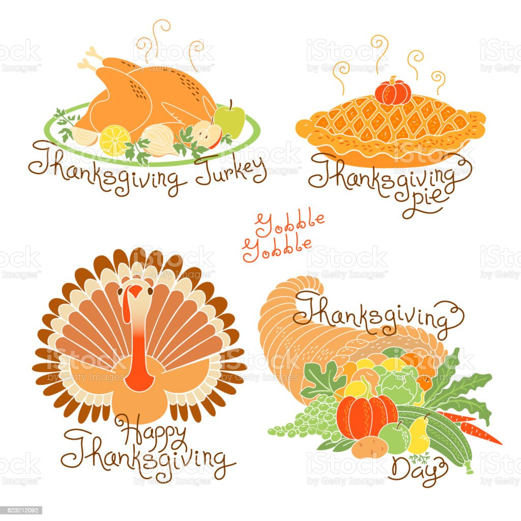 Set of color drawings to Thanksgiving Day. Autumn harvest, Traditional vector art illustration