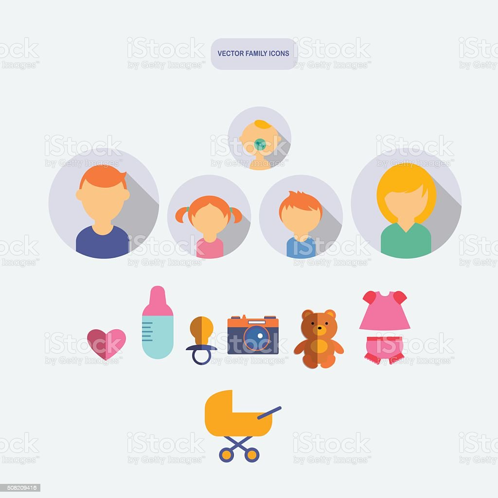 set of color flat family vector icons with newborn vector art illustration