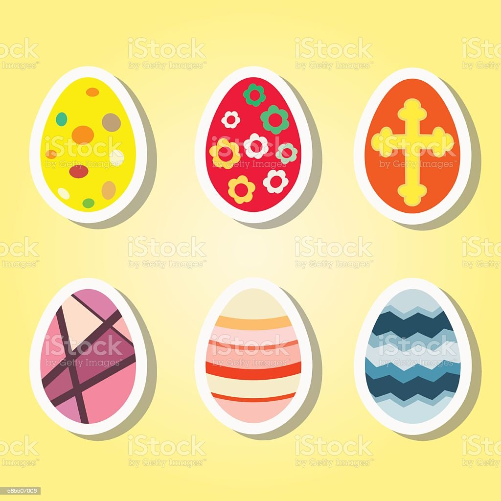 set of color icons with Easter eggs for your design vector art illustration