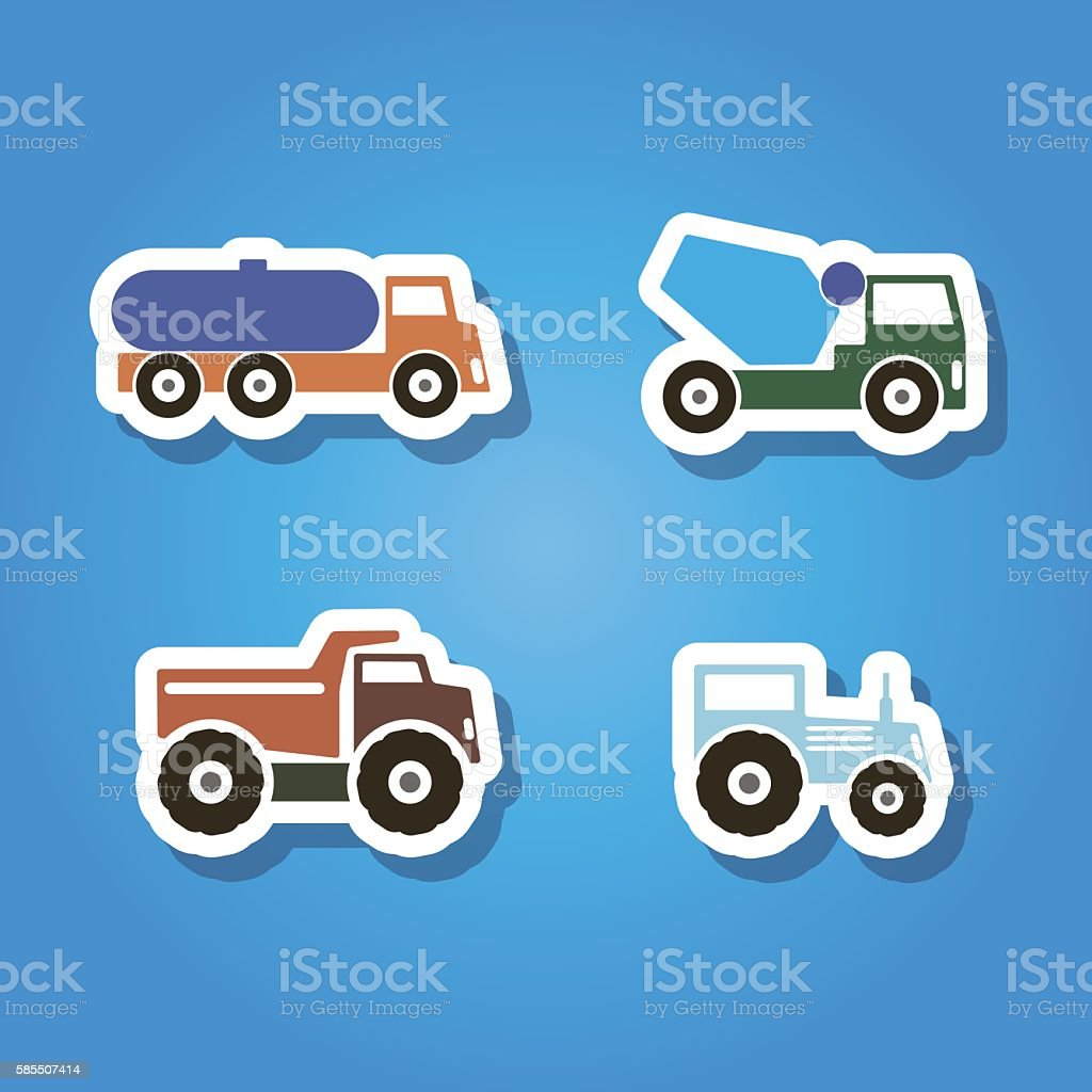 set of color icons with machines for your design vector art illustration